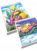공룡 자동차 로보트 그리기 수채화 기법, 아동미술교재