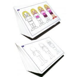 이모션액션, 단계별 드로잉 & 칼라링 인물 동작표현, 감정표현, 얼굴 표정그리기 아동미술교재